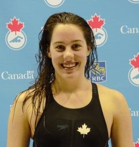 Aurélie Rivard all smiles after winning the 200-m Individual Medley at the Canadian Paralympic trials at the Toronto Pan Am Sports Centre on Thursday night.