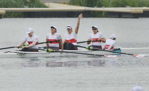 Canada's Mixed Coxed Four competes in the LTA Mixed Coxed Four Final B at the London 2012 Paralympic Games.