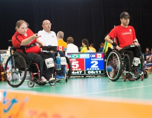 Alison Levine (left) and Marco Dispaltro (right) at the 2015 Parapan Ams in Toronto.