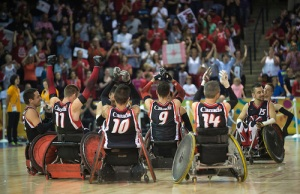 Team Canada after winning the Gold Medal Game at the 2015 Toronto Parapan Ams.