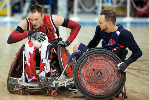 Canada takes on the United States in Wheelchair Rugby action in August, 2015.