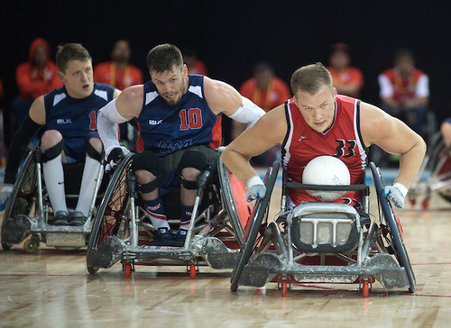 Zak Madell up against Team USA in Wheelchair Rugby action in August, 2015.