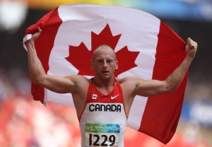 Earle Connor wins the men's 100 metres  at the Paralympic Games in Beijing.