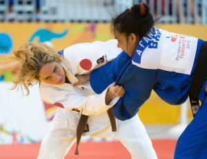 Priscilla Gagne (left) earned silver in the women's under-52-kg judo event at the Toronto 2015 Parapan Am Games. Photo: Dan Galbraith/Canadian Paralympic Committee