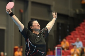 Stephanie Chan celebrates after winning the Gold Medal in Women's Singles Class at the Toronto 2015 Parapan American Games
