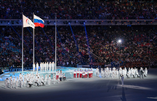 The IPC and Russian flags stand side-by-side at the 2014 Paralympic Games in Sochi.
