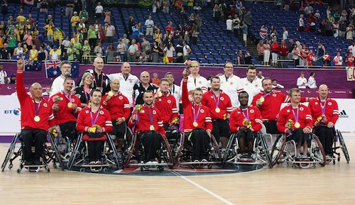 LONDON, ENGLAND 09/08/12: Team Canada wins the gold medal in Men's Wheelchair Basketball vs. AUS at the London 2012 Paralympic Games at the North Greenwich Arena (Photo by: Wheelchair Basketball Canada/Canadian Paralympic Committee)